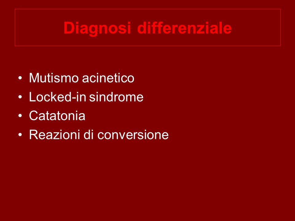 Diagnosi differenziale Mutismo acinetico Locked-in sindrome Catatonia Reazioni di conversione