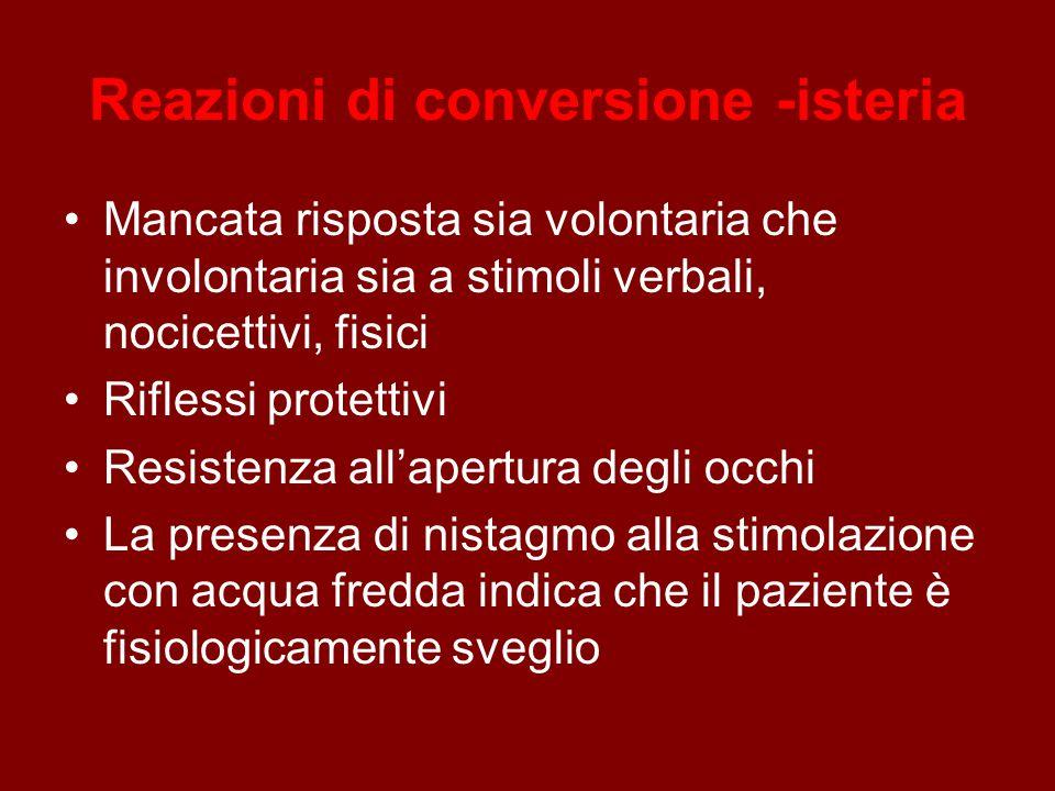 Reazioni di conversione -isteria Mancata risposta sia volontaria che involontaria sia a stimoli verbali, nocicettivi, fisici Riflessi protettivi Resis