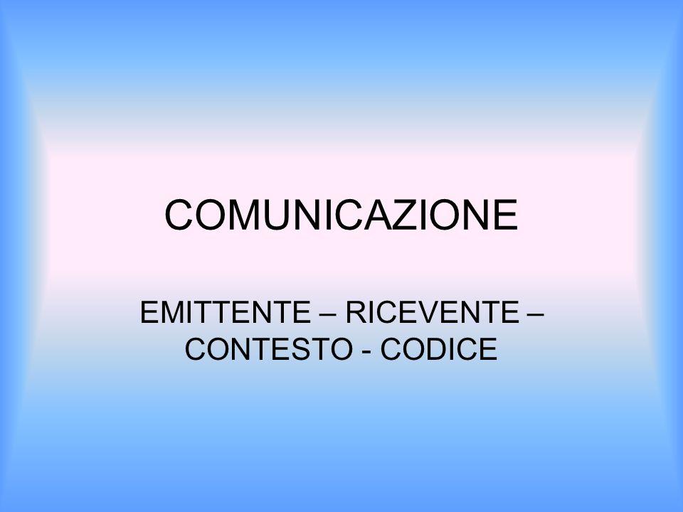COMUNICAZIONE EMITTENTE – RICEVENTE – CONTESTO - CODICE