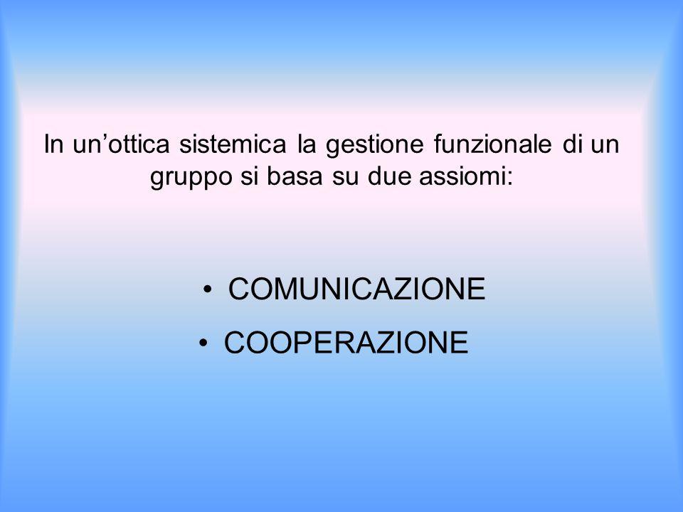 In un'ottica sistemica la gestione funzionale di un gruppo si basa su due assiomi: COMUNICAZIONE COOPERAZIONE