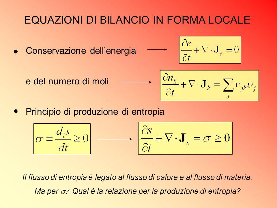 EQUAZIONI DI BILANCIO IN FORMA LOCALE Conservazione dell'energia e del numero di moli Principio di produzione di entropia Il flusso di entropia è lega