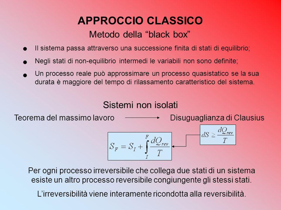 """APPROCCIO CLASSICO Metodo della """"black box"""" Il sistema passa attraverso una successione finita di stati di equilibrio; Negli stati di non-equilibrio i"""