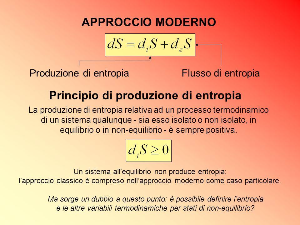 APPROCCIO MODERNO Un sistema all'equilibrio non produce entropia: l'approccio classico è compreso nell'approccio moderno come caso particolare. Ma sor