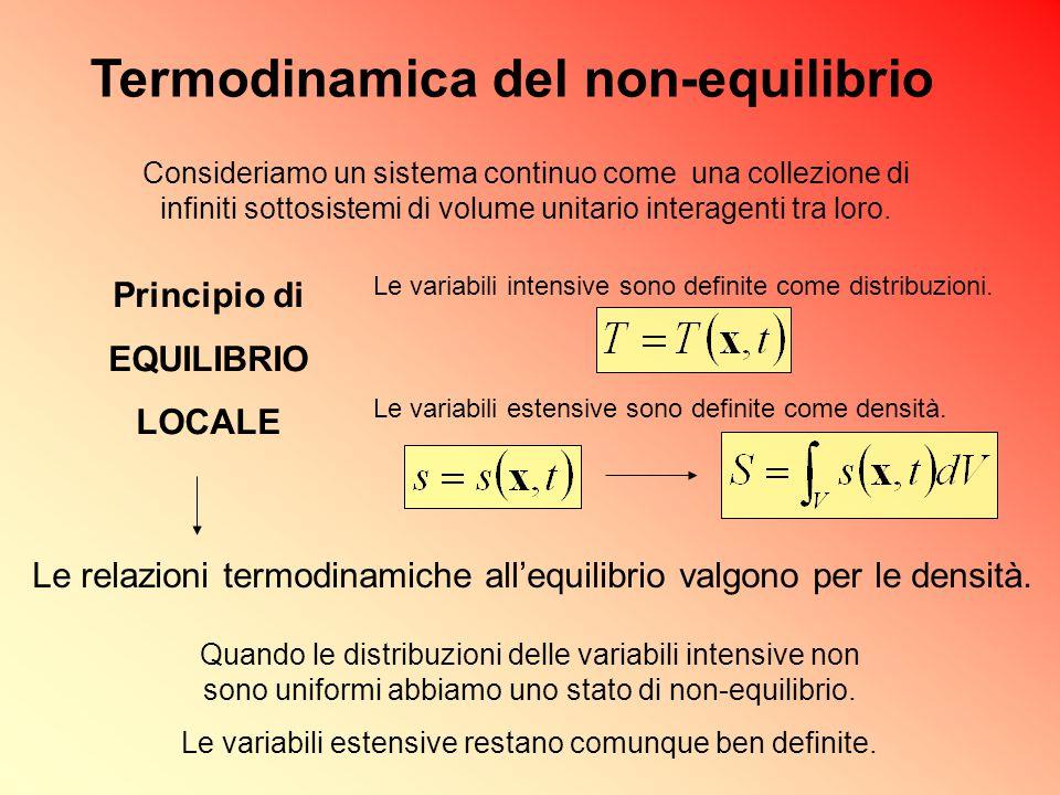 Le variabili intensive sono definite come distribuzioni. Le variabili estensive sono definite come densità. Le relazioni termodinamiche all'equilibrio