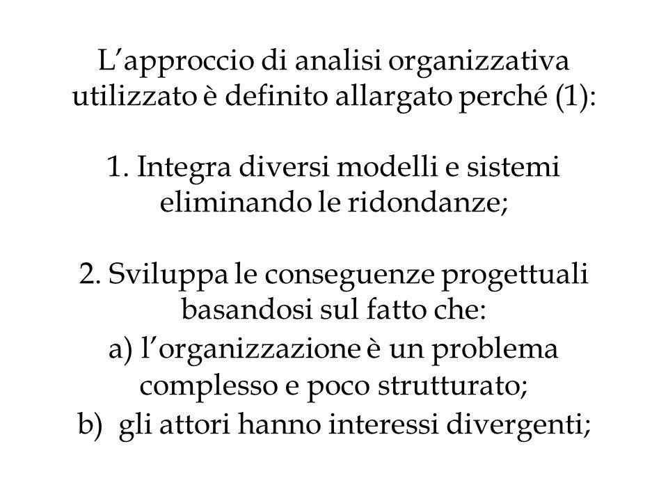 L'approccio di analisi organizzativa utilizzato è definito allargato perché (1): 1.