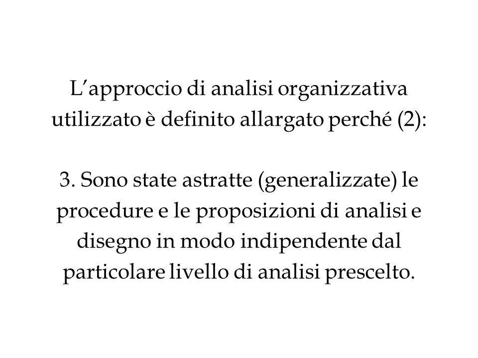 L'approccio di analisi organizzativa utilizzato è definito allargato perché (2): 3.