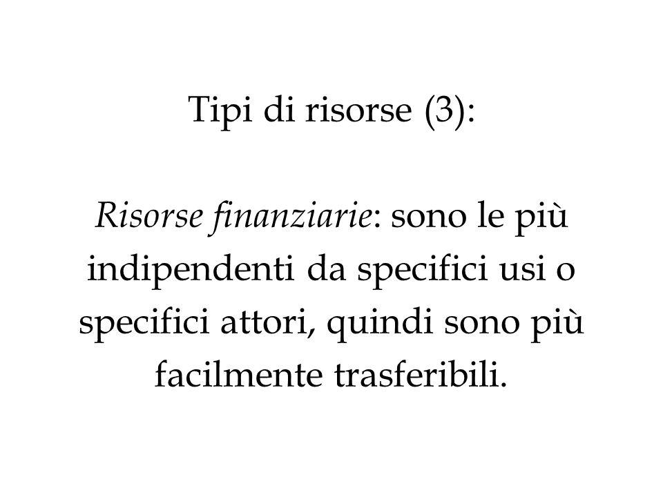 Tipi di risorse (3): Risorse finanziarie : sono le più indipendenti da specifici usi o specifici attori, quindi sono più facilmente trasferibili.