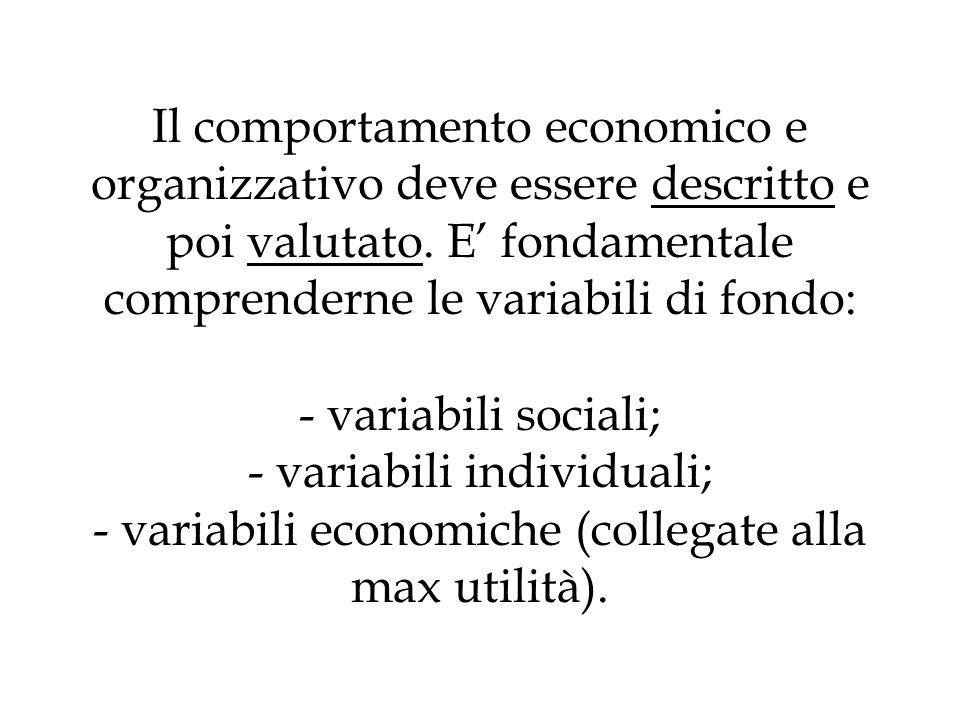 Il comportamento economico e organizzativo deve essere descritto e poi valutato.
