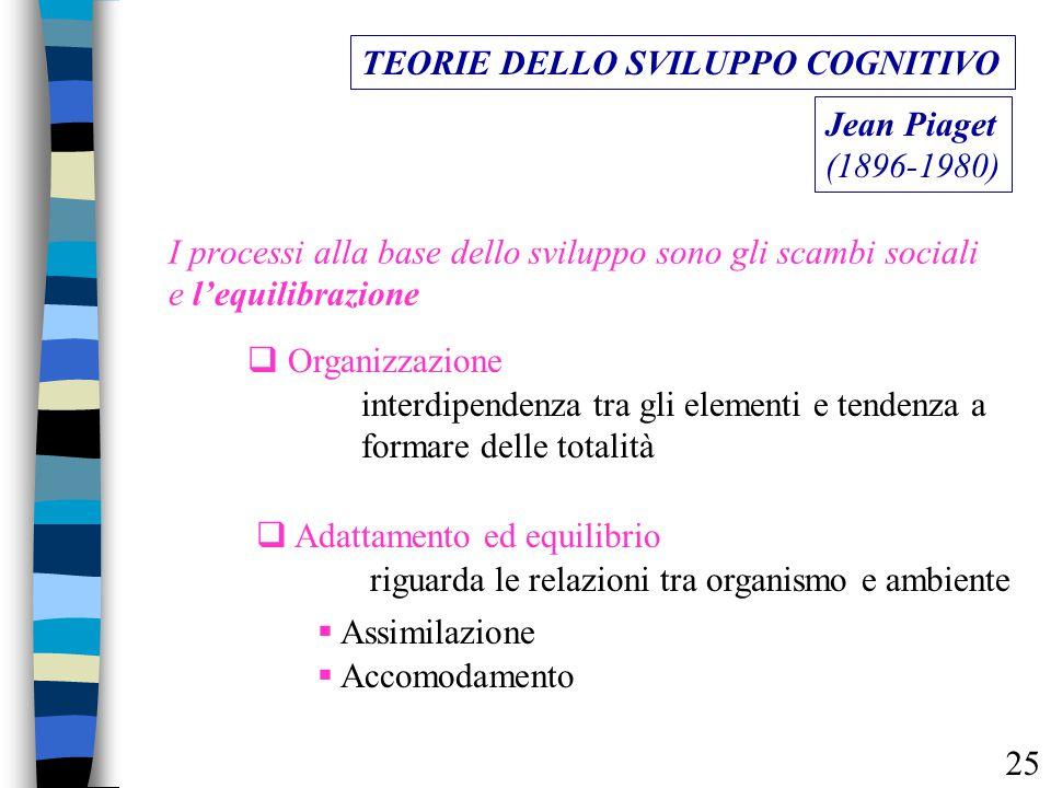 I processi alla base dello sviluppo sono gli scambi sociali e l'equilibrazione TEORIE DELLO SVILUPPO COGNITIVO Jean Piaget (1896-1980)  Organizzazion