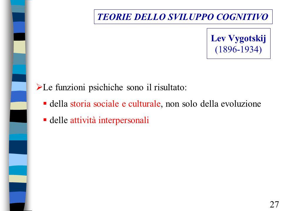 Lev Vygotskij (1896-1934) TEORIE DELLO SVILUPPO COGNITIVO  della storia sociale e culturale, non solo della evoluzione  Le funzioni psichiche sono i