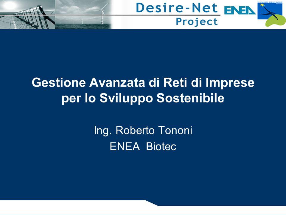 Gestione Avanzata di Reti di Imprese per lo Sviluppo Sostenibile Ing. Roberto Tononi ENEA Biotec