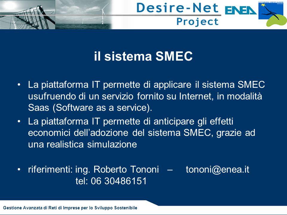 Gestione Avanzata di Reti di Imprese per lo Sviluppo Sostenibile il sistema SMEC La piattaforma IT permette di applicare il sistema SMEC usufruendo di un servizio fornito su Internet, in modalità Saas (Software as a service).