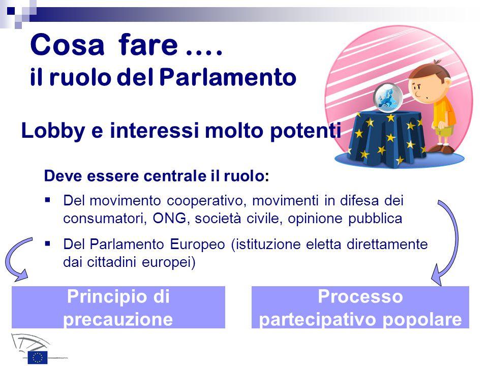 Cosa fare …. il ruolo del Parlamento Lobby e interessi molto potenti  Del movimento cooperativo, movimenti in difesa dei consumatori, ONG, società ci
