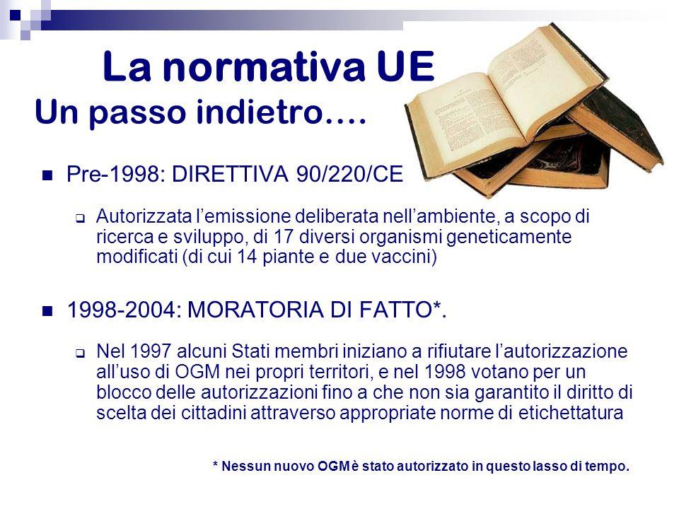 Pre-1998: DIRETTIVA 90/220/CE  Autorizzata l'emissione deliberata nell'ambiente, a scopo di ricerca e sviluppo, di 17 diversi organismi geneticamente modificati (di cui 14 piante e due vaccini) 1998-2004: MORATORIA DI FATTO*.