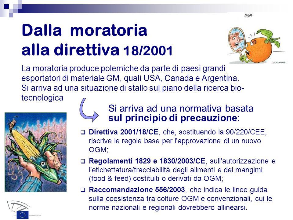 Dalla moratoria alla direttiva 18/2001 La moratoria produce polemiche da parte di paesi grandi esportatori di materiale GM, quali USA, Canada e Argentina.