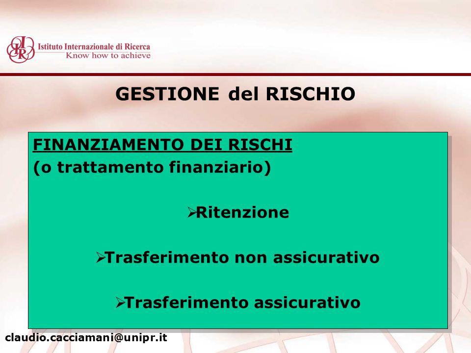 GESTIONE del RISCHIO FINANZIAMENTO DEI RISCHI (o trattamento finanziario)  Ritenzione  Trasferimento non assicurativo  Trasferimento assicurativo F