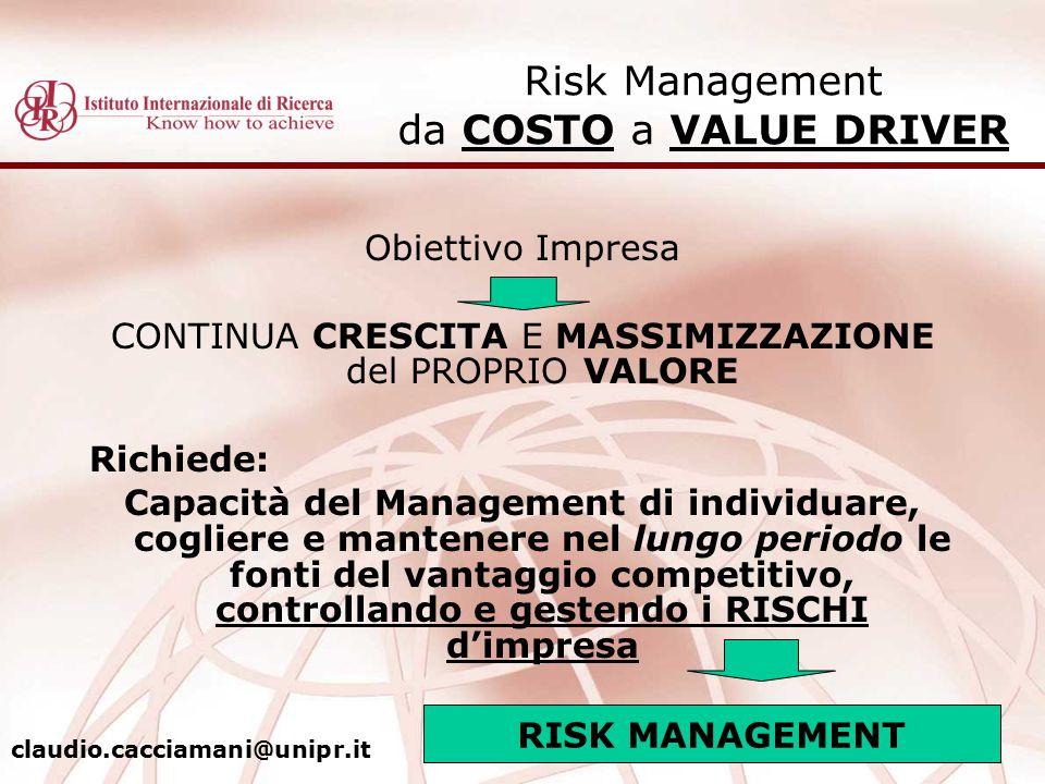 Obiettivo Impresa CONTINUA CRESCITA E MASSIMIZZAZIONE del PROPRIO VALORE Richiede: Capacità del Management di individuare, cogliere e mantenere nel lu