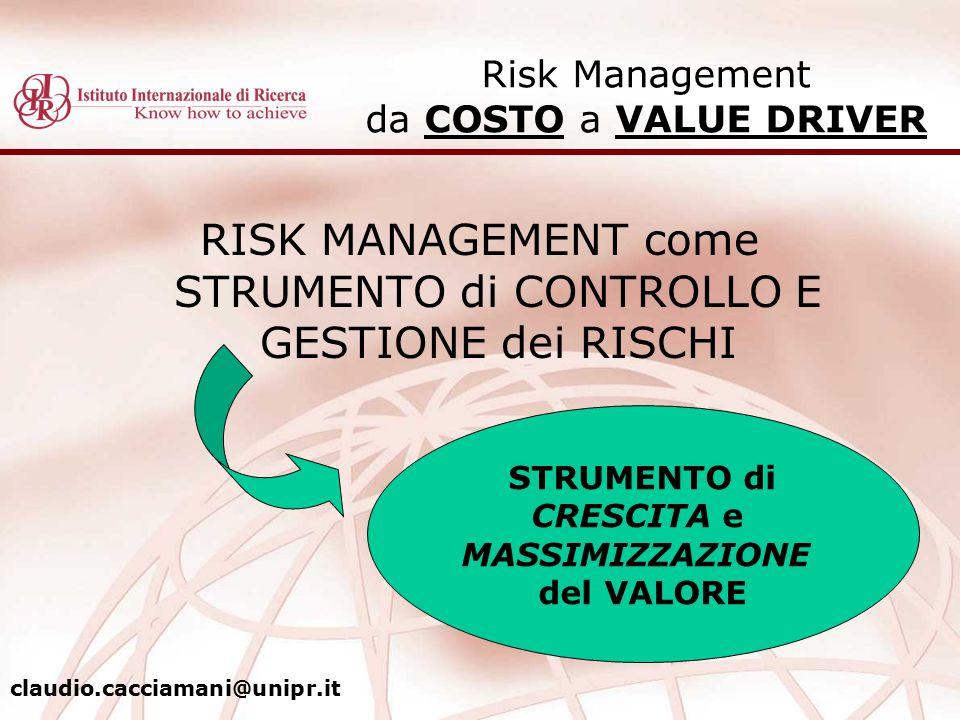 RISK MANAGEMENT come STRUMENTO di CONTROLLO E GESTIONE dei RISCHI Risk Management da COSTO a VALUE DRIVER STRUMENTO di CRESCITA e MASSIMIZZAZIONE del