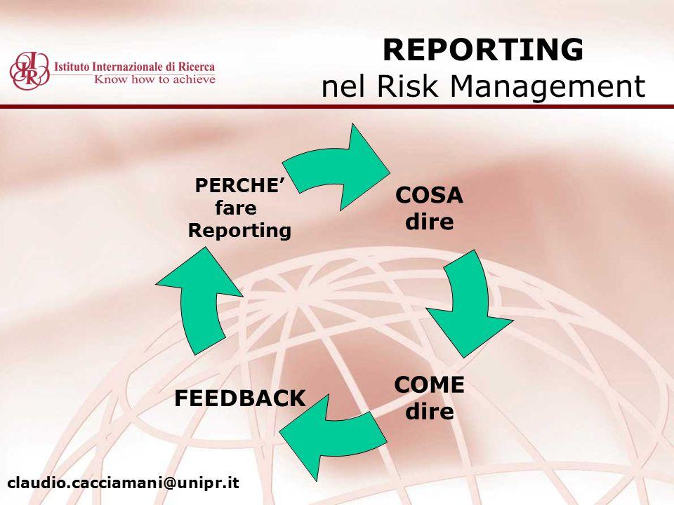 REPORTING nel Risk Management COSA dire COME dire FEEDBACK PERCHE' fare Reporting claudio.cacciamani@unipr.it