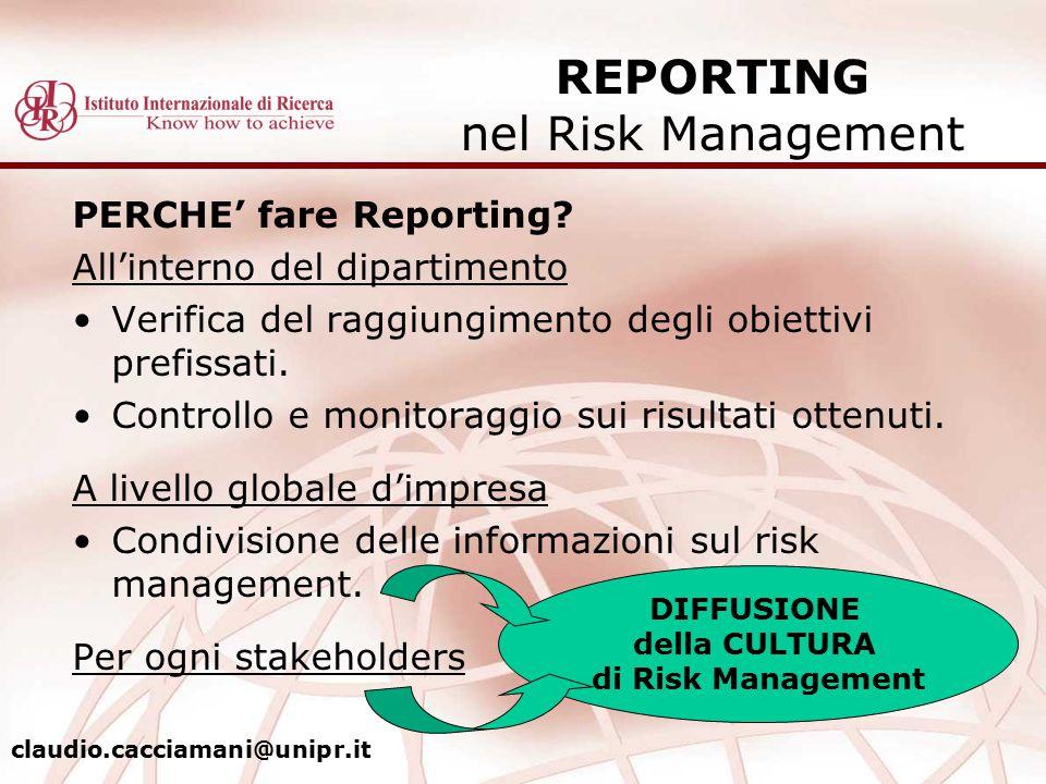 PERCHE' fare Reporting? All'interno del dipartimento Verifica del raggiungimento degli obiettivi prefissati. Controllo e monitoraggio sui risultati ot