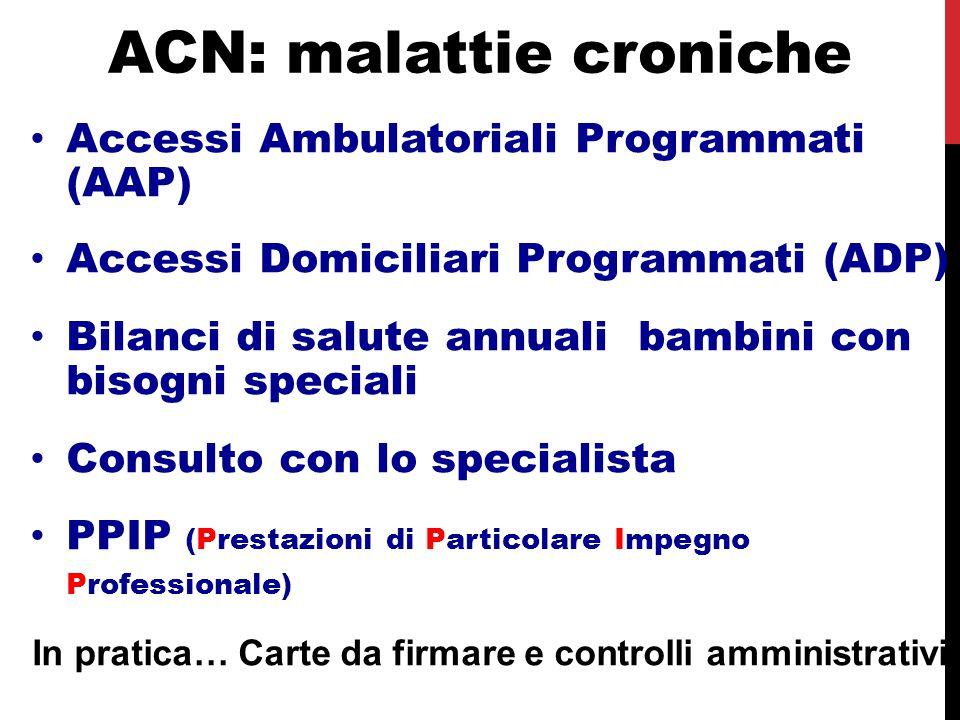 ACN: malattie croniche Accessi Ambulatoriali Programmati (AAP) Accessi Domiciliari Programmati (ADP) Bilanci di salute annuali bambini con bisogni spe