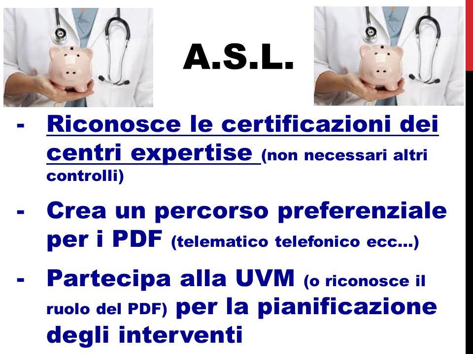A.S.L. -Riconosce le certificazioni dei centri expertise (non necessari altri controlli) -Crea un percorso preferenziale per i PDF (telematico telefon