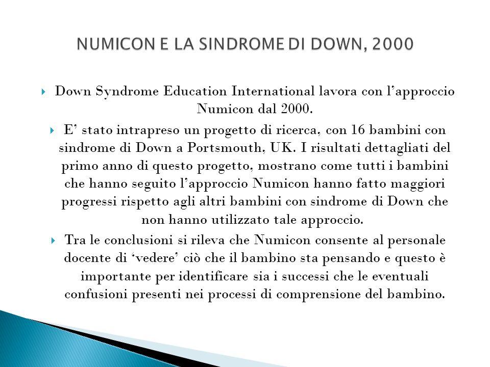  Down Syndrome Education International lavora con l'approccio Numicon dal 2000.  E' stato intrapreso un progetto di ricerca, con 16 bambini con sind