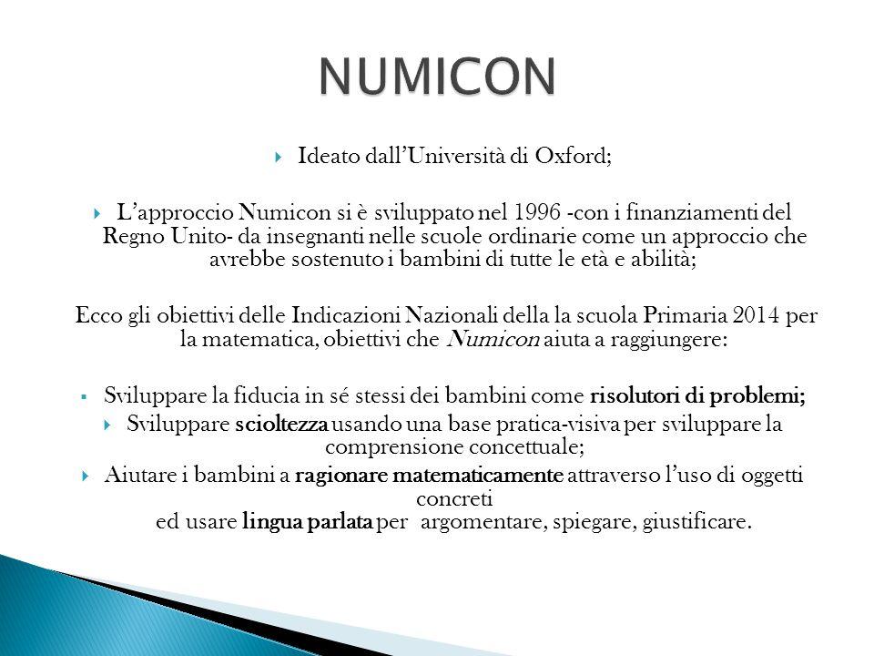  Ideato dall'Università di Oxford;  L'approccio Numicon si è sviluppato nel 1996 -con i finanziamenti del Regno Unito- da insegnanti nelle scuole or