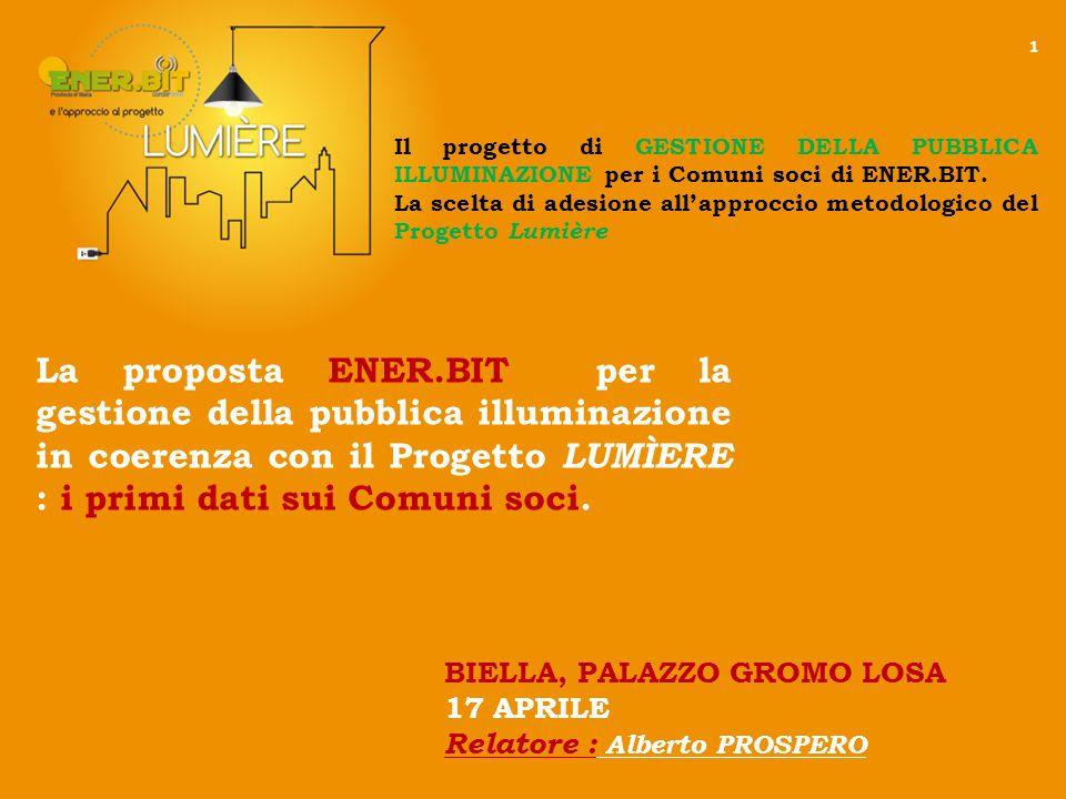 La proposta ENER.BIT per la gestione della pubblica illuminazione in coerenza con il Progetto LUMÌERE : i primi dati sui Comuni soci.