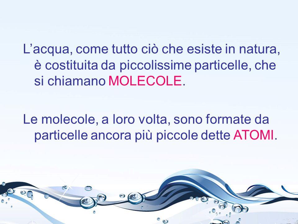 La molecola dell'acqua è formata da: 1 ATOMO DI OSSIGENO (O) 2 ATOMI DI IDROGENO (H) La sua formula chimica è H 2 O.