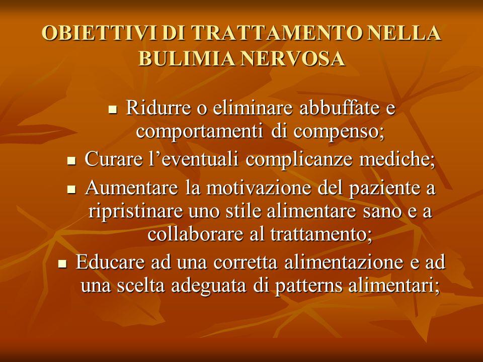 OBIETTIVI DI TRATTAMENTO NELLA BULIMIA NERVOSA Ridurre o eliminare abbuffate e comportamenti di compenso; Ridurre o eliminare abbuffate e comportament