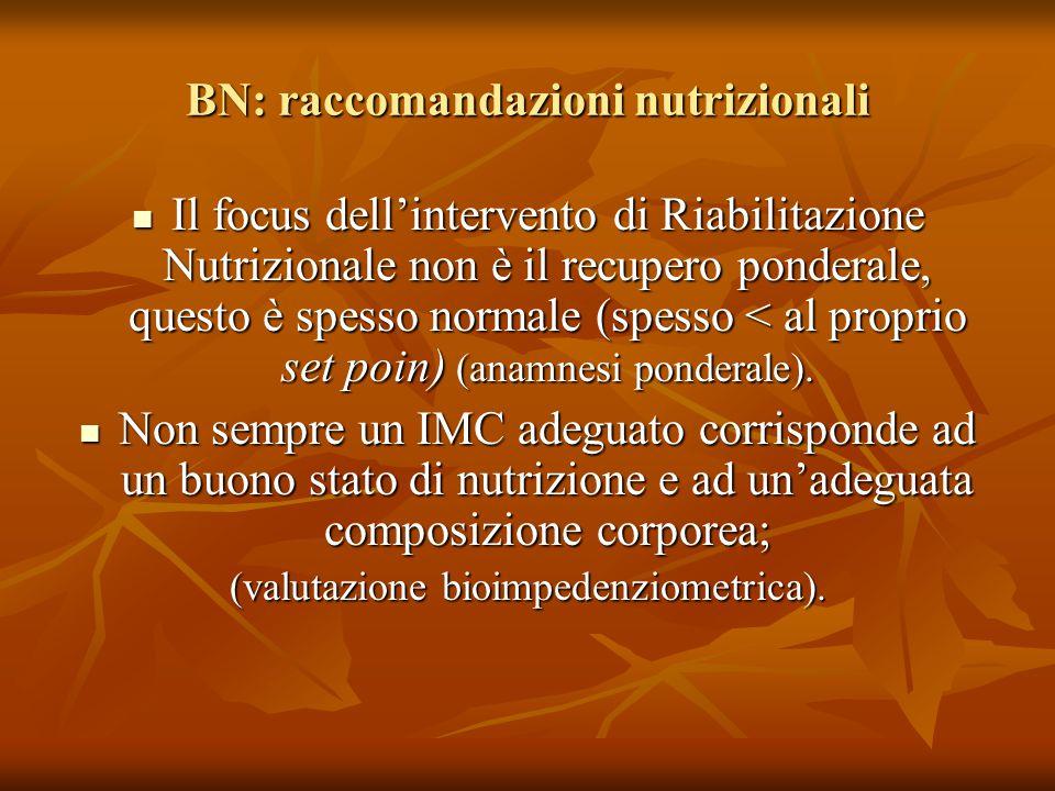 Il focus dell'intervento di Riabilitazione Nutrizionale non è il recupero ponderale, questo è spesso normale (spesso < al proprio set poin) (anamnesi