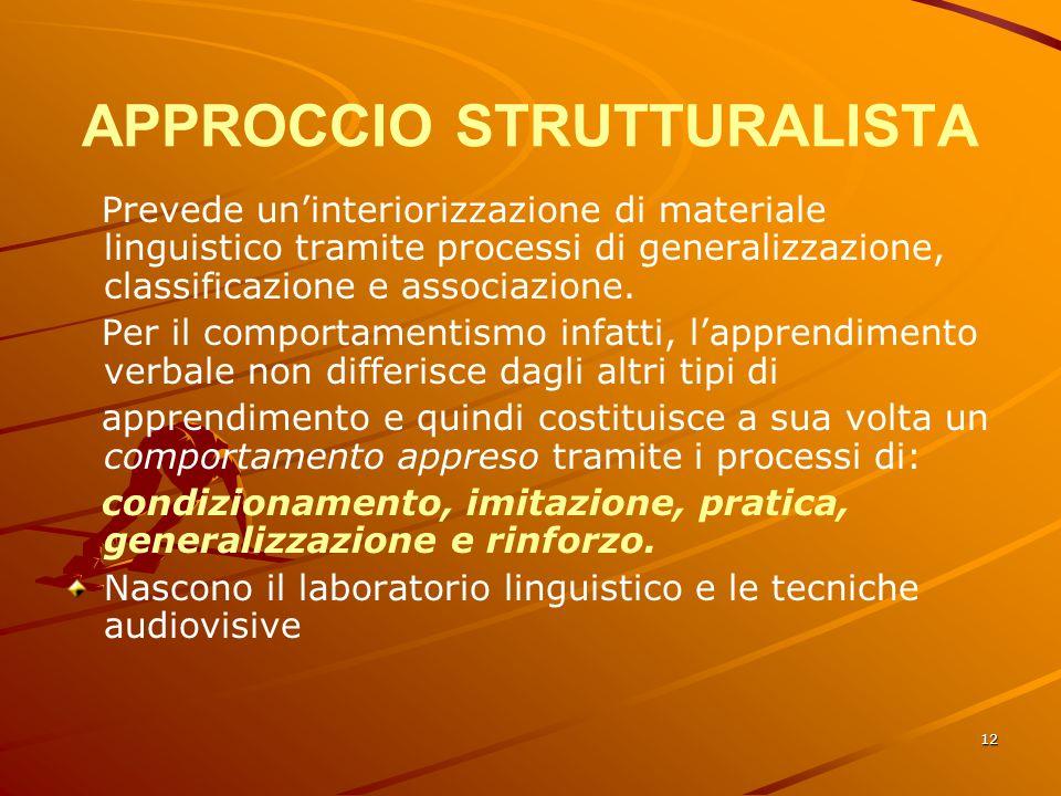 12 APPROCCIO STRUTTURALISTA Prevede un'interiorizzazione di materiale linguistico tramite processi di generalizzazione, classificazione e associazione.