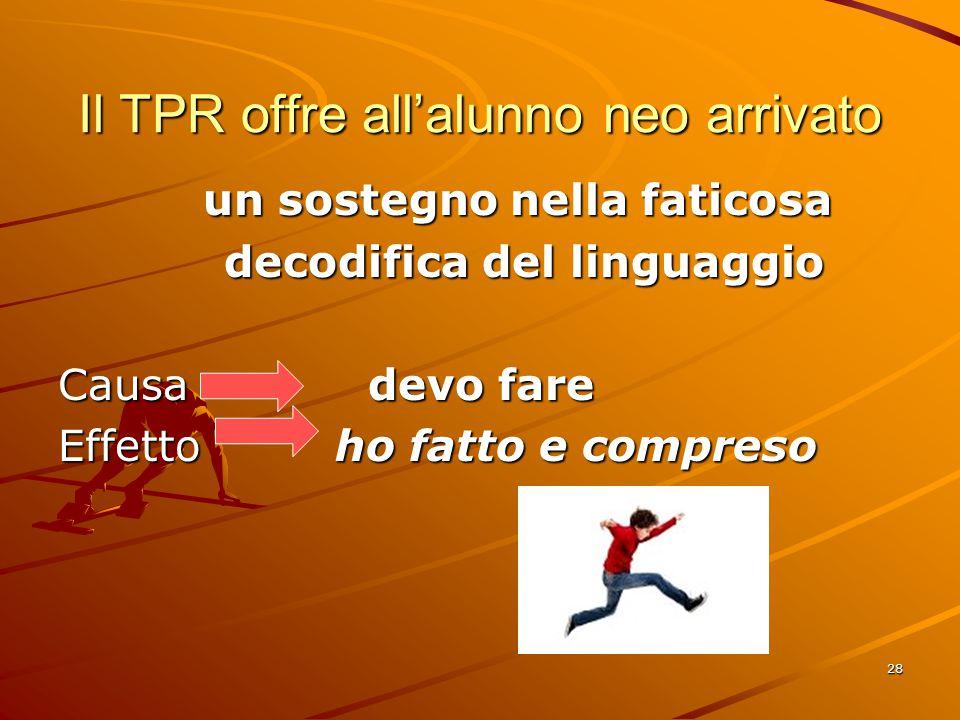 28 Il TPR offre all'alunno neo arrivato un sostegno nella faticosa un sostegno nella faticosa decodifica del linguaggio decodifica del linguaggio Causa devo fare Effetto ho fatto e compreso