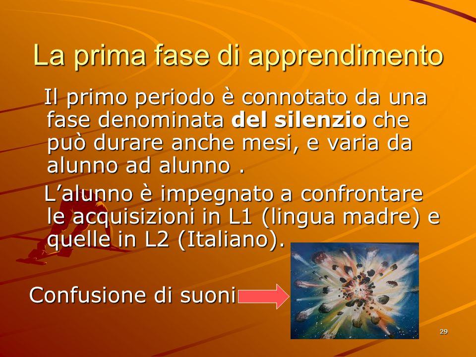 29 La prima fase di apprendimento Il primo periodo è connotato da una fase denominata del silenzio che può durare anche mesi, e varia da alunno ad alunno.