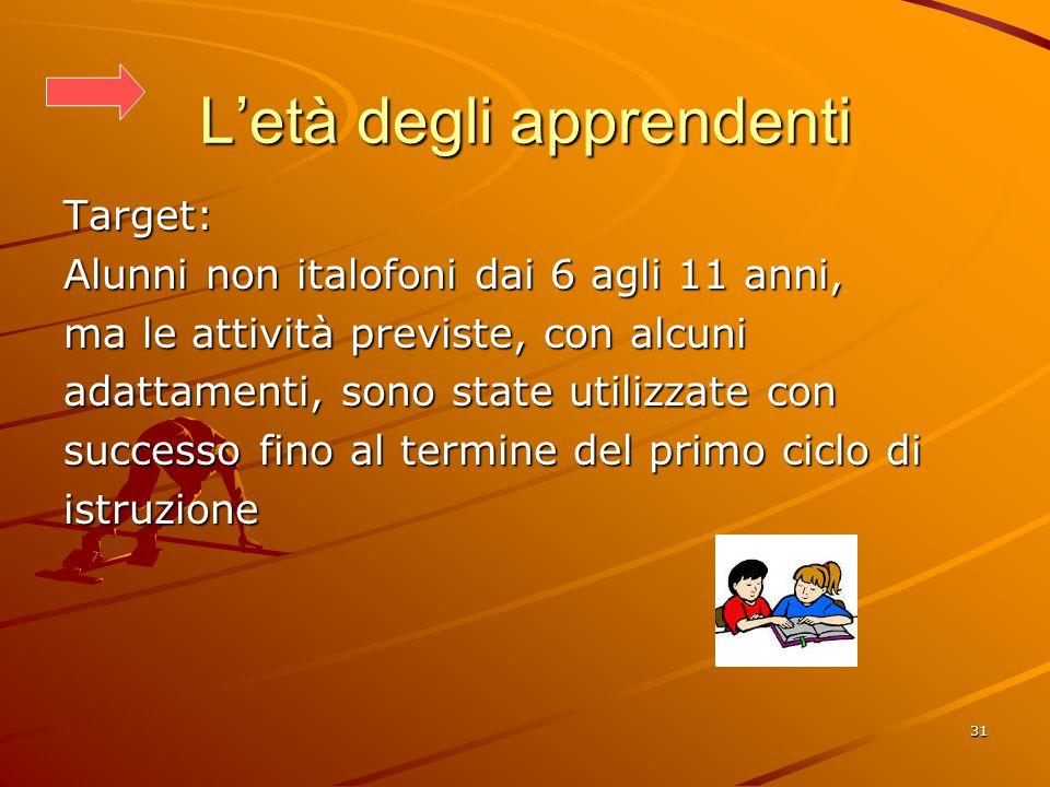 31 L'età degli apprendenti Target: Alunni non italofoni dai 6 agli 11 anni, ma le attività previste, con alcuni adattamenti, sono state utilizzate con successo fino al termine del primo ciclo di istruzione