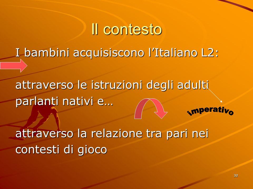 32 Il contesto I bambini acquisiscono l'Italiano L2: attraverso le istruzioni degli adulti parlanti nativi e… attraverso la relazione tra pari nei contesti di gioco