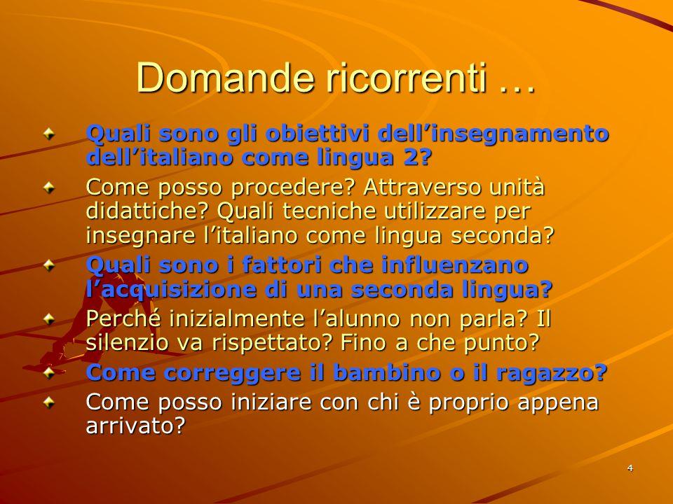 4 Domande ricorrenti … Quali sono gli obiettivi dell'insegnamento dell'italiano come lingua 2.