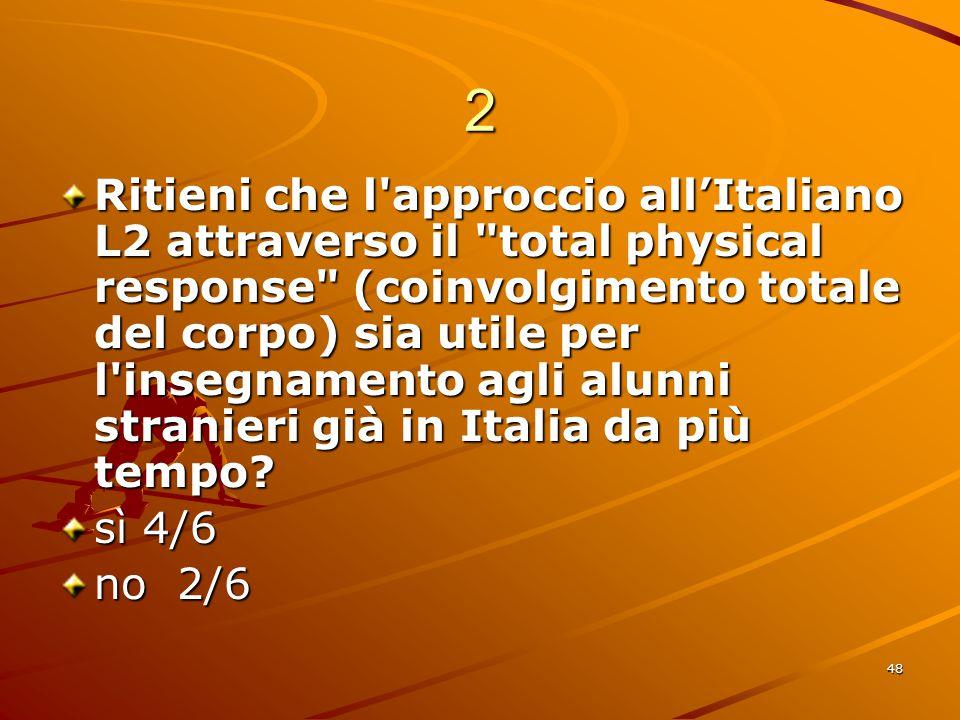 48 2 Ritieni che l approccio all'Italiano L2 attraverso il total physical response (coinvolgimento totale del corpo) sia utile per l insegnamento agli alunni stranieri già in Italia da più tempo.