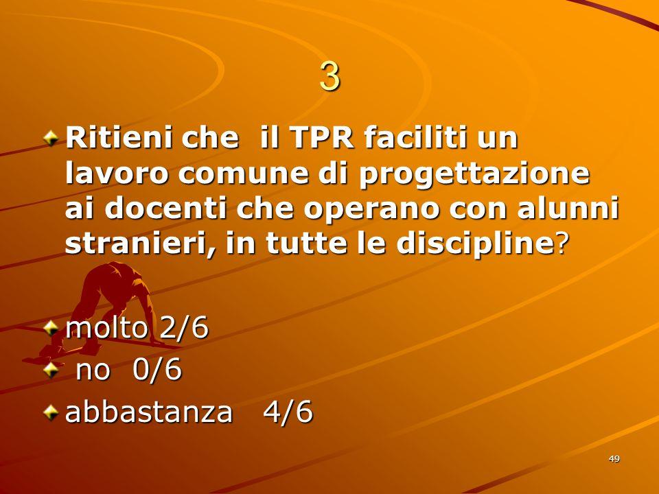 49 3 Ritieni che il TPR faciliti un lavoro comune di progettazione ai docenti che operano con alunni stranieri, in tutte le discipline.