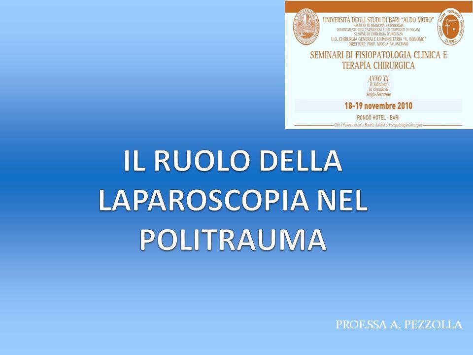 Il ruolo della laparoscopia nel politrauma L'ispezione dell'addome deve essere completa e ordinata variando anche più volte la posizione del paziente