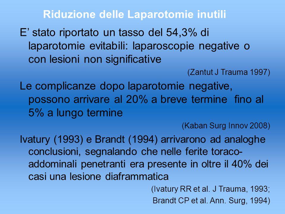 E' stato riportato un tasso del 54,3% di laparotomie evitabili: laparoscopie negative o con lesioni non significative (Zantut J Trauma 1997) Le complicanze dopo laparotomie negative, possono arrivare al 20% a breve termine fino al 5% a lungo termine (Kaban Surg Innov 2008) Ivatury (1993) e Brandt (1994) arrivarono ad analoghe conclusioni, segnalando che nelle ferite toraco- addominali penetranti era presente in oltre il 40% dei casi una lesione diaframmatica (Ivatury RR et al.