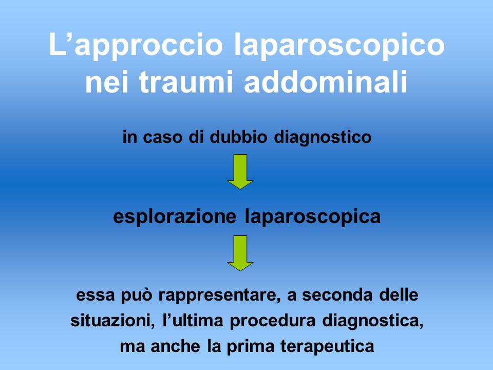 L'approccio laparoscopico nei traumi addominali in caso di dubbio diagnostico esplorazione laparoscopica essa può rappresentare, a seconda delle situazioni, l'ultima procedura diagnostica, ma anche la prima terapeutica