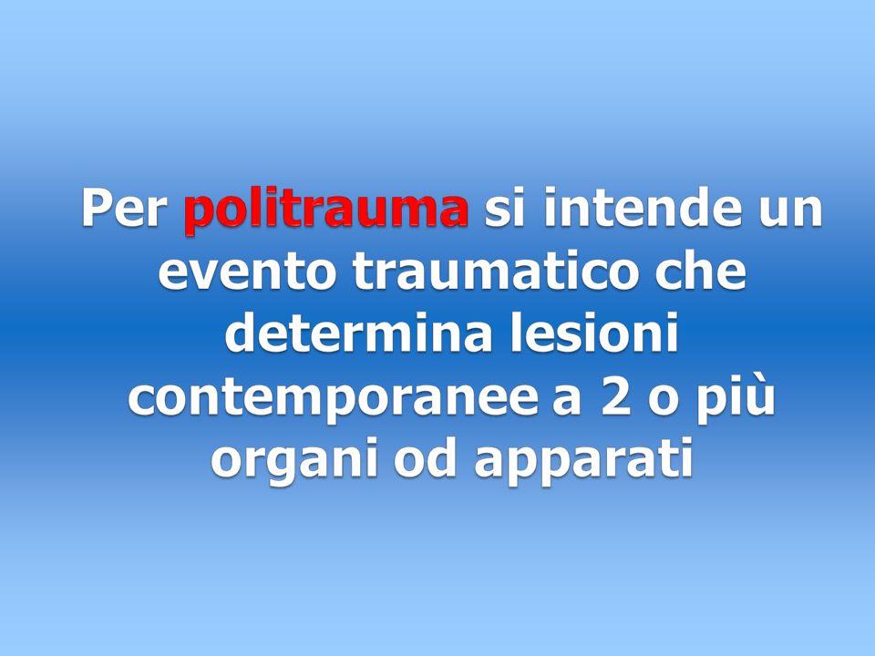 TRAUMA E POLITRAUMA In realtà parleremo sempre in termine di politraumatizzato anche se si tratterà spesso di un policontuso Il politraumatizzato è quel paziente che presenta almeno 2 lesioni di apparati diversi (es.