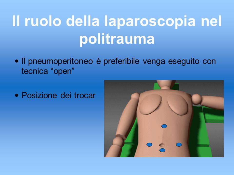 Il ruolo della laparoscopia nel politrauma Il pneumoperitoneo è preferibile venga eseguito con tecnica open Posizione dei trocar