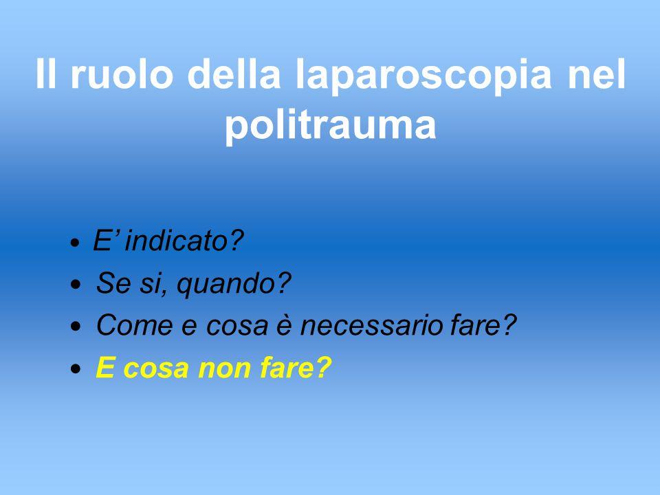 Il ruolo della laparoscopia nel politrauma E' indicato.
