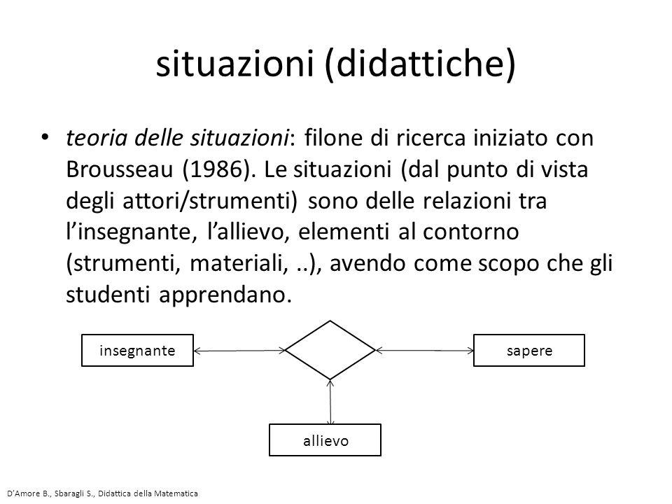 teoria delle situazioni: filone di ricerca iniziato con Brousseau (1986).