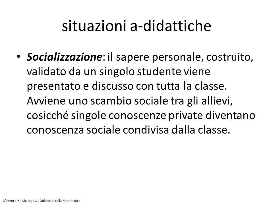Socializzazione: il sapere personale, costruito, validato da un singolo studente viene presentato e discusso con tutta la classe.