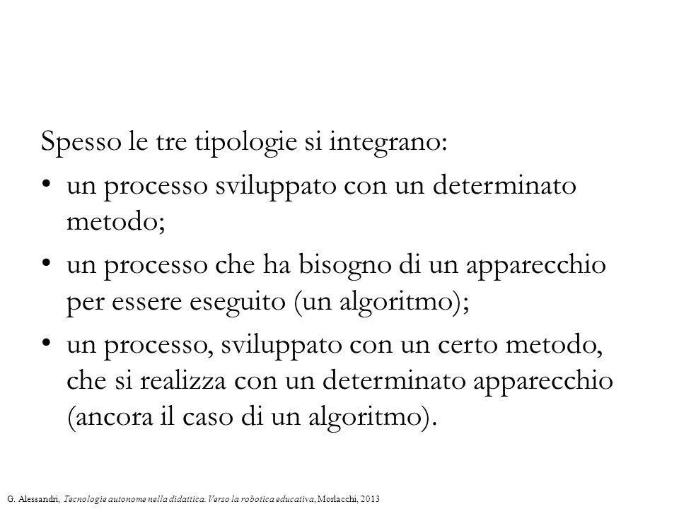 Spesso le tre tipologie si integrano: un processo sviluppato con un determinato metodo; un processo che ha bisogno di un apparecchio per essere eseguito (un algoritmo); un processo, sviluppato con un certo metodo, che si realizza con un determinato apparecchio (ancora il caso di un algoritmo).