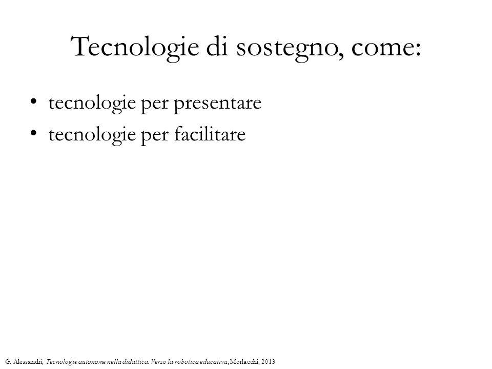 Tecnologie di sostegno, come: tecnologie per presentare tecnologie per facilitare G.